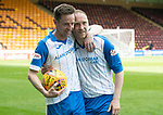 Motherwell v St Johnstone…05.05.18…  Fir Park    SPFL<br />Steven MacLean in his last game for saints celebrates his hat trick at full time with Steven Anderson<br />Picture by Graeme Hart. <br />Copyright Perthshire Picture Agency<br />Tel: 01738 623350  Mobile: 07990 594431