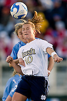 Notre Dame Fighting Irish midfielder Brittany Bock (10) battles North Carolina Tar Heels midfielder Ali Hawkins (76) for a header. The North Carolina Tar Heels defeated the Notre Dame Fighting Irish 2-1 during the finals of the NCAA Women's College Cup at Wakemed Soccer Park in Cary, NC, on December 7, 2008. Photo by Howard C. Smith/isiphotos.com