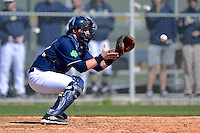 Notre Dame Fighting Irish catcher Forrest Johnson #30 takes a throw for a play at the plate during a game against the Mercer Bears at Buck O'Neil Complex on February 17, 2013 in Sarasota, Florida.  Mercer defeated Notre Dame 5-4.  (Mike Janes/Four Seam Images)