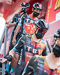 Bahrain Victorious at sign on before the start of Stage 8 of La Vuelta d'Espana 2021, running 173.7km from Santa Pola to La Manga del Mar Menor, Spain. 21st August 2021.     <br /> Picture: Charly Lopez/Unipublic | Cyclefile<br /> <br /> All photos usage must carry mandatory copyright credit (© Cyclefile | Unipublic/Charly Lopez)