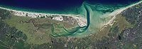 aerial photo map of wetlands and sediment flows at the shoreline of Cape Code,  Massachusetts