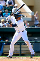 Detroit Tigers shortstop Argenis Diaz #70 during a Spring Training game against the Tampa Bay Rays at Joker Marchant Stadium on March 29, 2013 in Lakeland, Florida.  (Mike Janes/Four Seam Images)