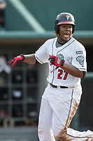 Lansing Lugnuts designated hitter Vladimir Guerrero Jr. (27) crosses the plate during the Midwest League baseball game against the Bowling Green Hot Rods on June 29, 2017 at Cooley Law School Stadium in Lansing, Michigan. Bowling Green defeated Lansing 11-9 in 10 innings. (Andrew Woolley/Four Seam Images)