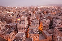 Rooftops of Old Town, Sana'a, a World Heritage Site which has been inhabited for over 2,500 years. Sana'a, Yemen.