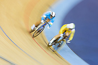 06 AUG 2012 - LONDON, GBR - Anna Meares (AUS) (right) of Australia leads Lyubov Shulika (UKR) (left) of Ukraine during their Individual Sprint quarter final first race at the London 2012 Olympic Games track cycling at the Olympic Park Velodrome in Stratford, London, Great Britain (PHOTO (C) 2012 NIGEL FARROW)