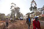 Pedestrians navigate  through   construction on Chiromo rd in Nairobi.