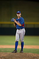 AZL Rangers relief pitcher Chris Morris (16) prepares to deliver a pitch during an Arizona League game against the AZL Cubs 2 at Sloan Park on July 7, 2018 in Mesa, Arizona. AZL Rangers defeated AZL Cubs 2 11-2. (Zachary Lucy/Four Seam Images)