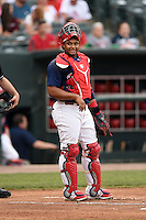 Memphis Redbirds catcher Audry Perez (40) during a game against the Oklahoma City RedHawks on May 23, 2014 at AutoZone Park in Memphis, Tennessee.  Oklahoma City defeated Memphis 12-10.  (Mike Janes/Four Seam Images)
