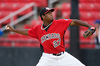 Fabio Castillo #27 of the Hickory Crawdads in action versus the West Virginia Power at L.P. Frans Stadium June 21, 2009 in Hickory, North Carolina. (Photo by Brian Westerholt / Four Seam Images)