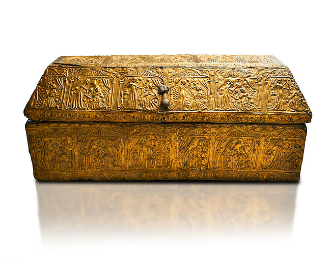 Gothic embossed Brass on wood box, circa 1370-1450, possibly made in Barcelona, Catalunya. National Museum of Catalan Art, Barcelona, Spain, inv no: MNAC 5361. Against a white background.