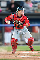 Lowell Spinners catcher Jordan Procyshen (34) throws down to second after blocking a pitch in the dirt during a game against the Batavia Muckdogs on July 16, 2014 at Dwyer Stadium in Batavia, New York.  Lowell defeated Batavia 6-4.  (Mike Janes/Four Seam Images)