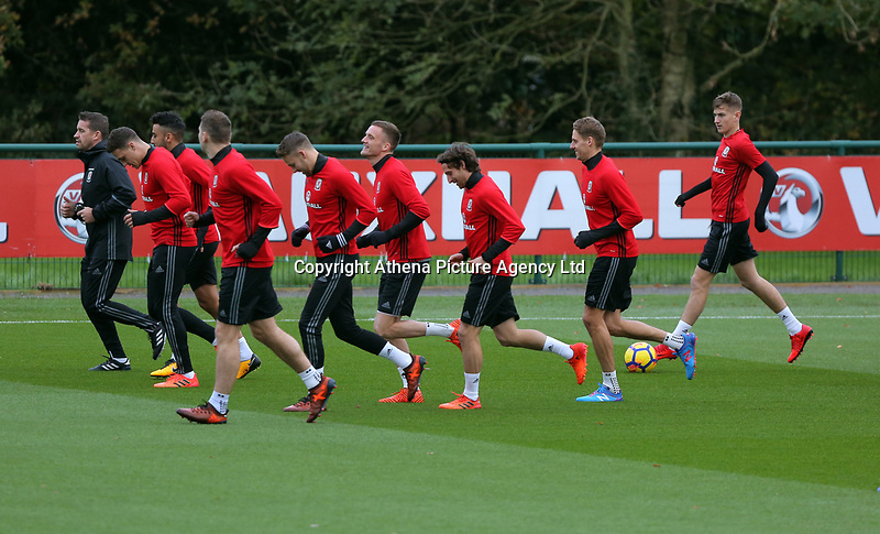 Players warm up during the Wales Training Session at The Vale Resort, Wales, UK. 06 November 2017