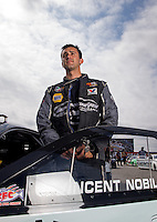 Sept. 1, 2013; Clermont, IN, USA: NHRA pro stock driver Vincent Nobile during qualifying for the US Nationals at Lucas Oil Raceway. Mandatory Credit: Mark J. Rebilas-
