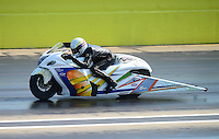 Sept. 22, 2012; Ennis, TX, USA: NHRA pro stock motorcycle rider Jerry Savoie during qualifying for the Fall Nationals at the Texas Motorplex. Mandatory Credit: Mark J. Rebilas-US PRESSWIRE