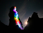 """Pictured:  A 1 minute 12 seconds exposure at Lizard Rock, Fisher Towers, Moab, UT<br /> <br /> Bright bolts of colourful light snake their way across mountains and cliffs.  The striking images were created by a rock climber who wrapped LED lights around his body before capturing long exposure shots of his route.<br /> <br /> Luke Rasmussen took the photos in the deserts of Nevada, in the United States, and admits that his method of 'freezing time in a moment' is unusual.  The 28 year old photographer said: """"Wearing a sweater full of lights and climbing through the darkness of night is certainly a different experience than most climbers will get.  SEE OUR COPY FOR DETAILS.<br /> <br /> Please byline: Luke Rasmussen/Solent News<br /> <br /> © Luke Rasmussen/Solent News & Photo Agency<br /> UK +44 (0) 2380 458800"""