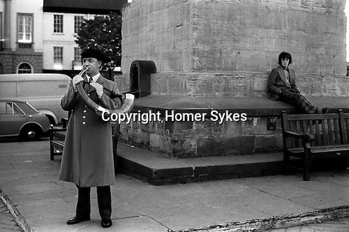 Ripon Hornblower, Brian Waines, the Wakeman sounds the ancient Charter horn once at each corner of the market square obelisks at 9.00 pm every night of the year. The custom of 'Setting the Watch' has been carried out for 1128 years. It is the longest ongoing unbroken daily ceremony in the world. <br /> In 1974, the Horn Blower was paid £1-00 per night plus 14p travelling expenses. <br /> <br /> My ref 29/824/1974