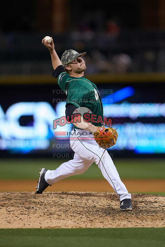 Charlotte 49ers relief pitcher Drew Morrison (14) in action against the North Carolina State Wolfpack at BB&T Ballpark on March 29, 2016 in Charlotte, North Carolina. The Wolfpack defeated the 49ers 7-1.  (Brian Westerholt/Four Seam Images)