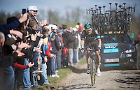 Luke Rowe (GBR/SKY) at the Carrefour de l'Arbre (2.1 km)<br /> <br /> 114th Paris-Roubaix 2016