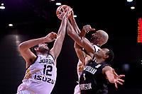 New Zealand Tall Blacks' Mika Vukona and Jordan's Yousef Abuwazaneh in action during the FIBA World Cup Basketball Qualifier - NZ Tall Blacks v Jordan at Horncastle Arena, Christchurch, New Zealand on Thursday 29 November  2018. <br /> Photo by Masanori Udagawa. <br /> www.photowellington.photoshelter.com