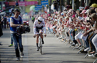 Fabian Cancellara (SUI/TREK-Segafredo) finishing the prologue completely drained after 2 days of stomach troubles (but still a formidable 8th place).<br /> <br /> stage 1: Apeldoorn prologue 9.8km<br /> 99th Giro d'Italia 2016