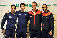 BOGOTA-COLOMBIA, 04-03-2020: Maximo Gonzalez, Horacio Ceballos de Argentina y Robert Farah, Juan Sebastian Cabal de Colombia, durante sorteo de los enfrentamientos para Las clasificatorias Copa Davis by Rakuten 2020 entre Colombia y Argentina en marzo 6 y 7 de 2020. / Maximo Gonzalez, Horacio Ceballos of Argentina and Robert Farah, Juan Sebastian Cabal of Colombia, during a draw for clashes of the Davis Cup by Rakuten 2020 qualifiers between Colombia and Argentina on March 6 and 7, 2020. / Photo: VizzorImage / Luis Ramirez / Staff.