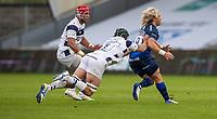 29th August 2020; AJ Bell Stadium, Salford, Lancashire, England; English Premiership Rugby, Sale Sharks versus Bristol Bears;  Faf de Klerk of Sale Sharks is tackled by Jake Heenan of Bristol Bears