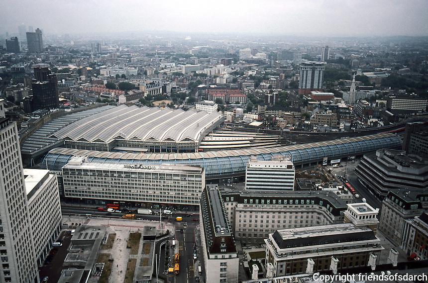 Nicholas Grimshaw: Waterloo Station and Eurostar Terminal, London 2003. Viewed from London Eye.