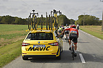 Mavic neutral service look after Adam De Vos (CAN) Rally UHC Cycling from the breakaway during the 113th edition of Paris-Tours 2019, running 217km from Chartres to Tours, France. 13th October 2019.<br /> Picture: ASO/Bruno Bade | Cyclefile<br /> All photos usage must carry mandatory copyright credit (© Cyclefile | ASO/Bruno Bade)
