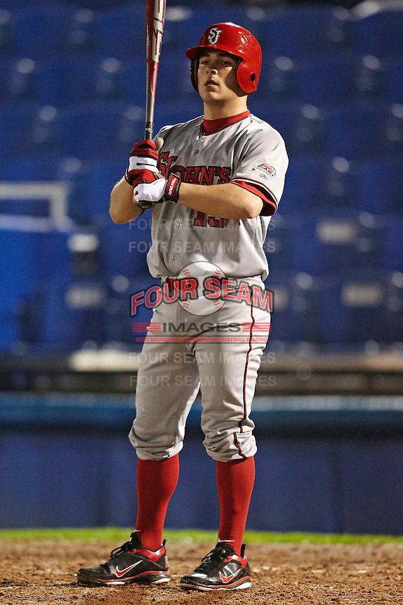 St. John's Red Storm infielder Zach Lauricella #13 during a game against the Michigan State Spartans at the Big Ten/Big East Challenge at Florida Auto Exchange Stadium on February 17, 2012 in Dunedin, Florida.  (Mike Janes/Four Seam Images)