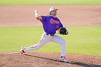 Ricky Williams (22) of the Clemson Tigers delivers a pitch in a fall Orange-Purple intrasquad scrimmage on Saturday, November 14, 2020, at Doug Kingsmore Stadium in Clemson, South Carolina. (Tom Priddy/Four Seam Images)