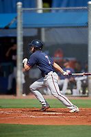GCL Twins first baseman Gabe Snyder (7) grounds out into the defensive shift during a game against the GCL Rays on August 9, 2018 at Charlotte Sports Park in Port Charlotte, Florida.  GCL Twins defeated GCL Rays 5-2.  (Mike Janes/Four Seam Images)
