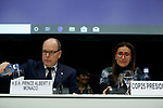 Prince Albert II of Monaco (L) speaks next to Chilean Minister of Environment Carolina Schmidt (R) during conference 'Platform of Science-based Ocean Solutions' on the second day of the UNFCCC COP25 climate conference on December 2, 2019 in Madrid, Spain. The conference brings together world leaders, climate activists, NGOs, indigenous people and others together for two weeks in an effort to focus global policy makers on concrete steps for heading off a further rise in global temperatures. (ALTERPHOTOS/Manu R.B.)