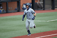 Brock Gagliardi (10) of the Old Dominion Monarchs jogs towards home plate after hitting a home run against the Charlotte 49ers at Hayes Stadium on April 23, 2021 in Charlotte, North Carolina. (Brian Westerholt/Four Seam Images)
