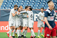 FOXBOROUGH, MA - APRIL 17: Richmond players celebrate their second goal of the game during a game between Richmond Kickers and Revolution II at Gillette Stadium on April 17, 2021 in Foxborough, Massachusetts.