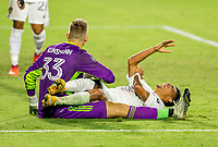 CARSON, CA - OCTOBER 14: Jonathan Klinsmann #33 GK and Julian Araujo #22 of Los Angeles Galaxy collide into one another during a game between San Jose Earthquakes and Los Angeles Galaxy at Dignity Heath Sports Park on October 14, 2020 in Carson, California.
