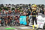 Riders line up for the start Stage 2 of the 2021 Tour de France, running 183.5km from Perros-Guirec to Mur-de-Bretagne Guerledan, France. 27th June 2021.  <br /> Picture: A.S.O./Charly Lopez   Cyclefile<br /> <br /> All photos usage must carry mandatory copyright credit (© Cyclefile   A.S.O./Charly Lopez)