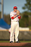Ball State Cardinals pitcher Trevor Henderson (19) during a game against the Maine Black Bears on March 3, 2015 at North Charlotte Regional Park in Port Charlotte, Florida.  Ball State defeated Maine 8-7.  (Mike Janes/Four Seam Images)