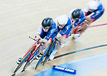 The team of Great Britain with Eleanor Dickinson, Emily Kay, Manon Lloyd and Emily Nelson compete in the Women's Team Pursuit - Qualifying as part of the 2017 UCI Track Cycling World Championships on 12 April 2017, in Hong Kong Velodrome, Hong Kong, China. Photo by Chris Wong / Power Sport Images