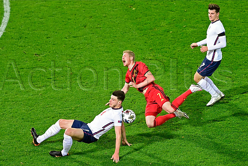 15th November 2020; Leuven, Belgium;   Kevin De Bruyne forward of Belgium battles for the ball with Declan Rice midfielder of England during the UEFA Nations League match group stage final tournament - League A - Group 2 between Belgium and England