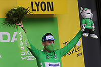 12th September 2020; Lyon, France;  TOUR DE FRANCE 2020- UCI Cycling World Tour during covid-19 pandemic. Stage 14 from Clermont-Ferrand to Lyon on the 12th of September. Sam Bennett Ireland Deceuninck - Quick - Step in green on the podium