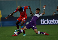 3rd October 2021; Franchi Stadium, Florence, Italy; Serie A football, Fiorentina versus Napoli : Victor Osimhen of Napoli challenges Lucas Quarta of Fiorentina