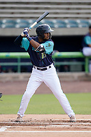 Center fielder Korey Holland (15) of the Lynchburg Hillcats in a game against the Delmarva Shorebirds on Wednesday, August 11, 2021, at Bank of the James Stadium in Lynchburg, Virginia. (Tom Priddy/Four Seam Images)