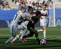 GRENOBLE, FRANCE - JUNE 22: Francisca Ordega #17 of the Nigerian National Team on the attack as Verena Schweers #17 of the German National Team defends during a game between Nigeria and Germany at Stade des Alpes on June 22, 2019 in Grenoble, France.