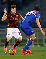 Calcio, Serie A: Roma vs Sampdoria. Roma, stadio Olimpico, 7 febbraio 2016.<br /> Roma's Stephan El Shaarawy, left, is challenged by Sampdoria's Andrea Ranocchia during the Italian Serie A football match between Roma and Sampdoria at Rome's Olympic stadium, 7 January 2016.<br /> UPDATE IMAGES PRESS/Riccardo De Luca