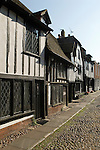 Rye East Sussex UK. Medieval half timbered building family homes in Church Square. Cobbled streets