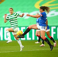 21st April 2021; Celtic Park, Glasgow, Scotland; Scottish Womens Premier League, Celtic versus Rangers; Brianna Westrup of Rangers Women and Cheryl McCulloch of Celtic Women challenge for the ball