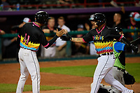 Erie Piñatas Isaac Paredes (18) high fives Derek Hill (11) after hitting a home run during an Eastern League game against the Las Ardillas Voladoras de Richmond on August 28, 2019 at UPMC Park in Erie, Pennsylvania.  Richmond defeated Erie 4-3 in the second game of a doubleheader.  (Mike Janes/Four Seam Images)