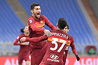 Lorenzo Pellegrini of Roma celebrates with Spinazzola after scoring the goal of 1-0  during the Serie A football match between AS Roma and FC Internazionale at Olimpico stadium in Roma (Italy), January 10th, 2021. Photo Andrea Staccioli / Insidefoto