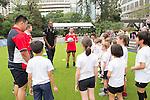 Rugby coaching clinic with HSBC Ambassadors Brian O'Driscoll and Jason Robinson in the Sevens Village during the HSBC Hong Kong Rugby Sevens 2016 on 07 April 2016 at Hong Kong Stadium in Hong Kong, China. Photo by Kitmin Lee / Power Sport Images