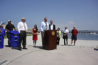 Tuesday, May 12, 2009.  Mission Beach, San Diego, CA, USA.  Eviromental Services Dierector Chris Gonaver addresses the media as Mayor Jerry Sanders, District 2 councilmember Kevin Faulconer, and members of the commuinity look on.  Faulconer announced today that he plans to use $80K of discretionary funds to continue a long-standing program of supplemental trash pick-ups from residents in Mission Beach during the summer months.